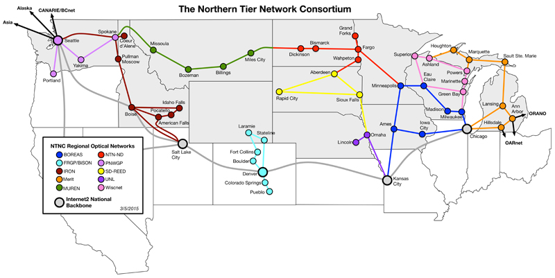 Northern Tier network map